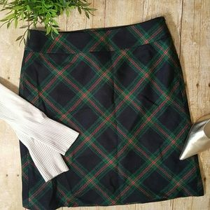 Talbots Petites Green Red Plaid Lined Wool Skirt 4